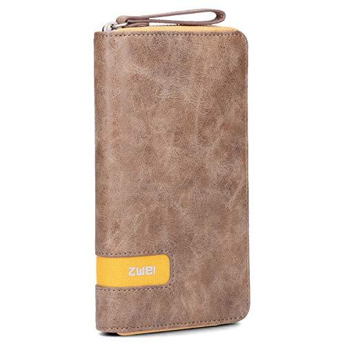 Zwei O.Wallet OW2 Reißverschluss Geldbörse Portemonnaie Geldbeutel Brieftasche Portmonee, Farbe:Yellow