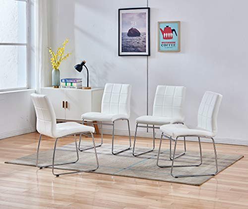 Enjowarm Dining Chairs Modern White Faux Leather Metal Waiting Room Chairs Armless Upholstered Ergonomic Office Chairs Side Kitchen Dining Room Chair (Set of 4)