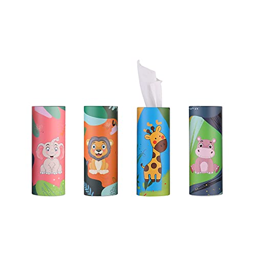 Brandon super, cylinder paper towel, auto paper towel, disposable face towel, very suitable for car cup holder, can paper towel, durable, soft and comfortable (animal, 4pcs)