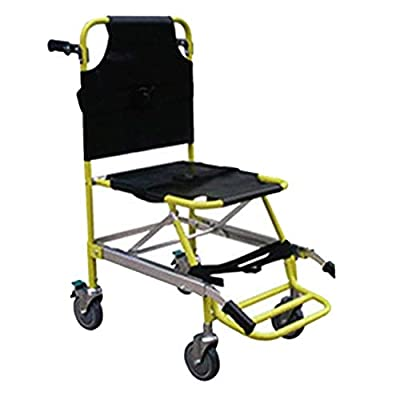 XIHAA Stair Chair, Foldable Medical Emergency Single Person Operation Stair Chair, Paramedic Patient Transport 4 Wheels Evacuation Chair, Yellow Load Capacity: 350 Lbs