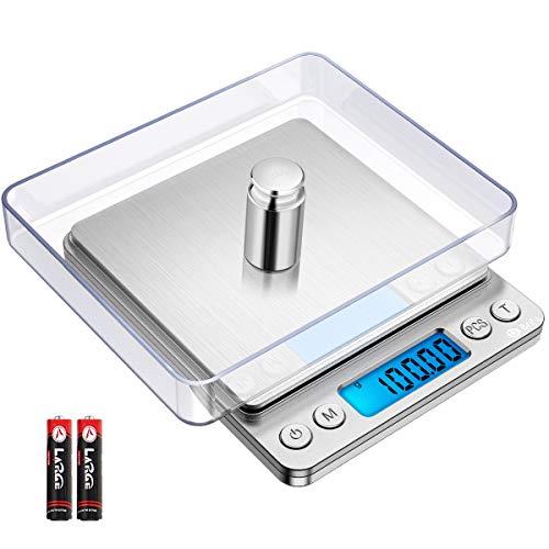 Brifit Digitale Küchenwaage, 500 g / 0,01 g, Mini-Schmuckwaage, 100 g Kalibriergewicht, Küchenwaage, LCD-Display, 2 Ablagen, 6 Einheiten, automatische Abschaltung, Tare, PCS, Edelstahl silber