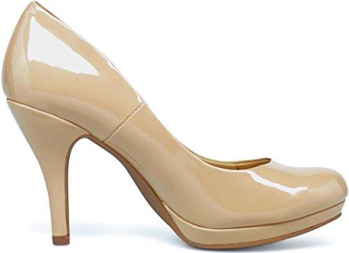 MARCOREPUBLIC Rome Memory Foam Cushion Womens Low Platform Heels Comfort Pumps - (Dark Beige Patent) - 6.5