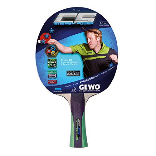 GEWO Unisex– Erwachsene Tischtennisschläger CS Energy Power konkav, Entwickelt vom Olympia-Medaillengewinner Christian Süß, Grau/Grün