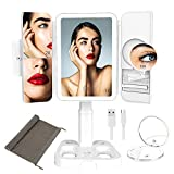 Lighted Makeup Vanity Mirror with 72 LED Lights 1X 2X 3X 10X Magnification Trifold Light Up Cosmetic Mirrors, Adjustable Height, Touch Screen Dimming, Dual Power Supply, Portable for Travle(White)