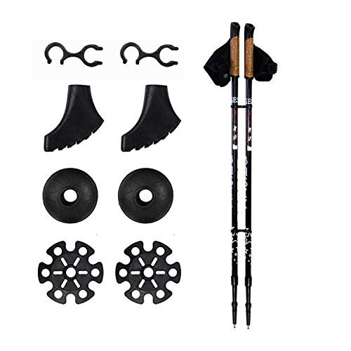 Bastones de senderismo 2 piezas set – ligero plegable ajustable de aluminio telescópico bastón de senderismo bastón de senderismo par con Nordic Trek accesorios para mujeres hombres Seniors Trail Hike