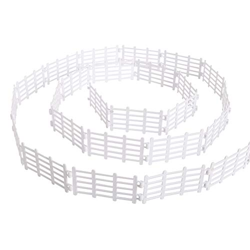 YUCAN 50PCS Toys Fence Horse Corral Fencing Accessories Playset, Mini Plastic Garden Fence Toys Farm Animals Horses Figurines, Fence Panels, Paddock Toys, Cake Toppers for Kids (Y White)