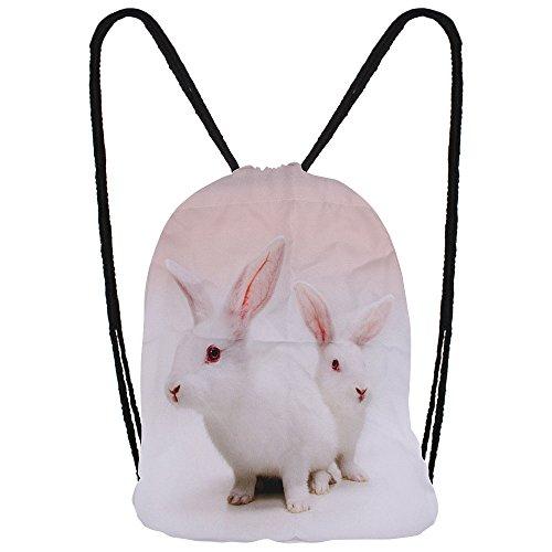 Hanessa Jutebeutel Geschenk zu Weihnachten mit Hasen Tier Aufdruck Sportbeutel Rucksack Beutel Tasche Gym Bag Gymsack Hipster Fashion Sport-Tasche Weiß Hase