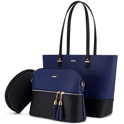 LOVEVOOK Handtasche Damen Schultertasche Handtaschen Tragetasche Damen Groß Designer Elegant Umhängetasche Henkeltasche Set 3-teiliges Set, Blau Schwarz