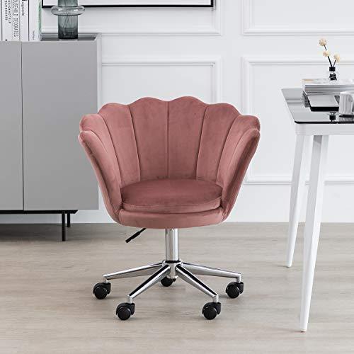 Blütenblatt Bürostuhl Mädchen Schreibtischstuhl Ergonomischer Rosa Samt Computerstuhl Sessel Arbeitsstuhl Drehstuhl mit Armen Verstellbare Höhe für das Zuhause Büro (Rosa)