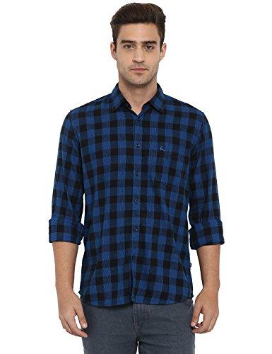 Parx Blue Slim Fit Cotton Casual Shirt