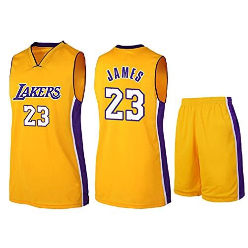 Lakers # 23 Canottiera Di Pallacanestro E Pantaloncini Set Da Basket Maglia Set Da Uomo Da Uomo Da Uomo In Palestra yellow-S