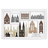 artboxONE Poster 120x80 cm Städte Lubeck Skyline Black &