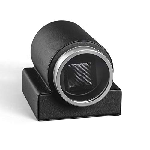 SYN-GUGAI Watch Enrollador Reloj Winders Caja a Prueba de Polvo Cuero Automático Single Watch Winder Caja de Cuero Caja la Caja con La Base Balanza (Color : Black)