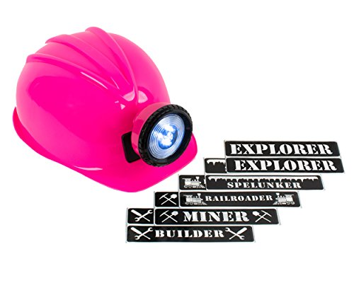 Squire Boone Village Light-up Hard Hat Including Miner, Railroader, Builder and Spelunker Helmet Labels (Pink)