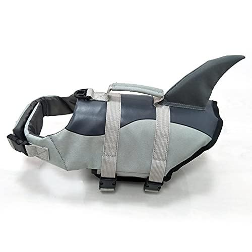 Dog Life Jackets, Adjustable Buoyancy Aid Lifejacket for Dogs, Upgrade Lightweight Shark Design Swimming Floatation Vest for Pet Puppy (Gray,M)