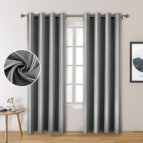 HOMEIDEAS 2 Panels Silver Grey Faux Silk Curtains Gray Blackout Curtains for Bedroom 52 X 96 Inch Room Darkening Satin Drapes/Curtains, Thermal Insulated Blackout Window Curtains for Living Room