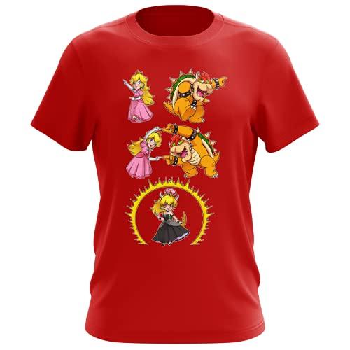 OKIWOKI Maglietta Rossa da Uomo Parodia Super Mario - Principessa Peach e Bowser AKA Bowsette - (T-Shirt di qualità Premium in Taglia XS - Stampata in Francia - RIF : 1053)