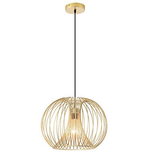 HOMCOM Lampada a Sospensione Altezza Regolabile, Illuminazione Moderna Soggiorno, Cucina, Camera da Letto, Colore Oro
