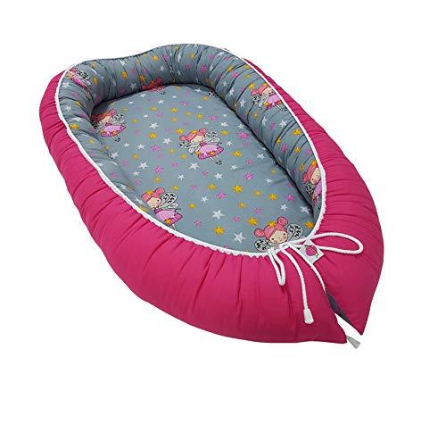 Babymajawelt multifunktionales Babynest Bettverkleinerung (90 x 55 cm) Baby - Reisebett Nestchen für Neugeborene (Tänzer-Fee pink)