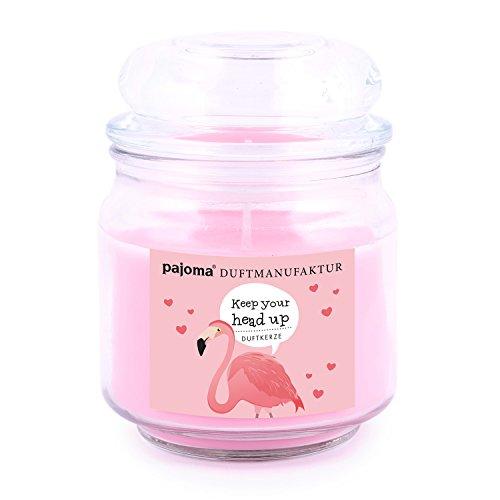 pajoma Duftkerze ''Keep Your Head up Flamingo'' (Strawberry Bellini) im Bonbonglas, 248 g, Premium Kerze zum verschließen, für Circa 55 Stunden