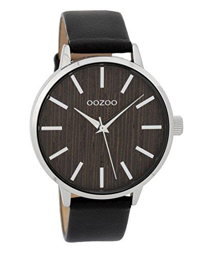 Oozoo Damenuhr mit Lederband Wood Holz Zifferblatt 42 MM Holz/Schwarz C9254
