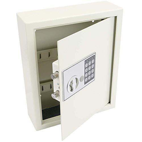 PrimeMatik - Armoire à clés avec 18 Crochets. Coffre-Fort de sécurité à Code électronique 30x10x37cm Beige