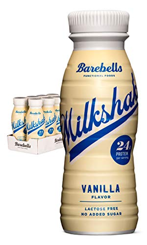 Barebells Protein Milkshake | Vanilla | 8 x 330ml Bottles | High Protein Shake | No Added Sugar | Lactose Free | 24g of Protein | Delicious Creamy Flavour