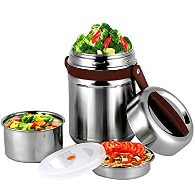 Bento Lunch Box,Stainless Steel lunch Jar, 3 Layers Vacuum Insulated Food Containers, Large Insulted Lunch Box Jar for Men and Women on Work, Picnic or Camping (Coffee, 65oz)