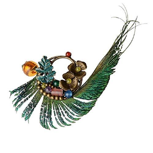 wangk Original Hecho a Mano Peacock Pluma Broche, joyería étnica Flores de Cobre Broche, Piedras esmaltadas Broche Vintage