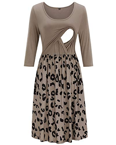 OUGES Womens 3/4 Sleeve Floral Maternity Dresses Nursing Gown Breastfeeding Clothes(Leopard1,M)
