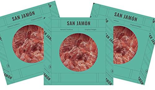 San Jamón - Jamon Iberico Bellota - Prosciutto Pata Negra Ibérico di Ghianda Intagliato a Mano100g x3