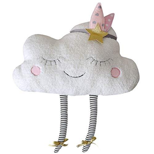 Cojín con forma de nube, para decoración del hogar, Kawaii Cloud, peluche de peluche, juguetes para niños y bebés (blanco)