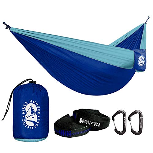 Hiker Hunger Outfitters Double Hammock Blue - Portable & Lightweight with 10' Tree Straps & Wiregate Carabiners. Ripstop Parachute Nylon, Hiking, Camping, Travel & Backpacking