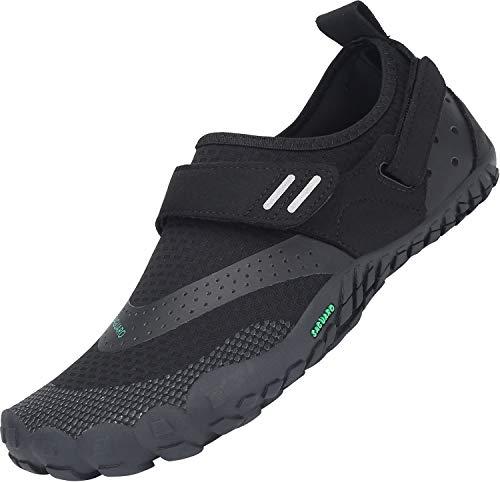 SAGUARO Trail-Laufschuhe für Männer Frauen Leicht Barfußschuhe Unisex Erwachsene Wassersportschuhe Quick Dry Wandern Schuhe rutschfest Barfussschuhe Verschleißfest Aquaschuhe Outdoor, Schwarz 43