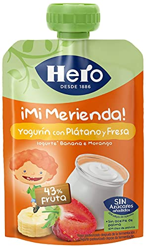 Hero Bolsita de Yogur, Plátano y Fresa, 100g