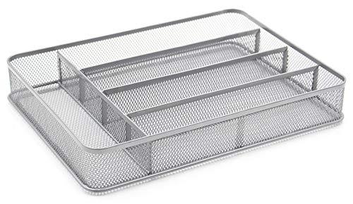 TQVAI 5 Compartment Mesh Kitchen Cutlery Trays Silverware Storage Kitchen Utensil Flatware Tray, Silver