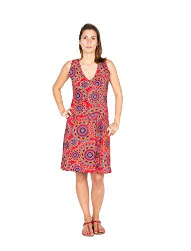 Filosophie Lässiges Freizeitkleid/Urlaubskleid mit V-Ausschnitt und leuchtenden floral Print – Hippie Chic – 100{b7ecf3b2c3bab0a069be8e81431e485a7ffac47bd3a94132d8c135ab558e021f} Baumwolle - NINA (Rot) (L/XL)