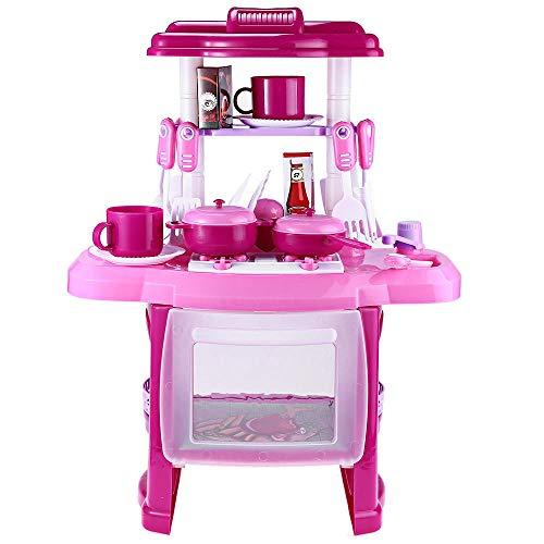 Mini Juguetes de Cocina, Juego de Cocina de Doble Capa para Niños Juego de Utensilios Cocina Juego Roles Juego Maletas Forma de Maleta Pequeño Chef Juego de Simulación con Luces Sonidos (Pink)