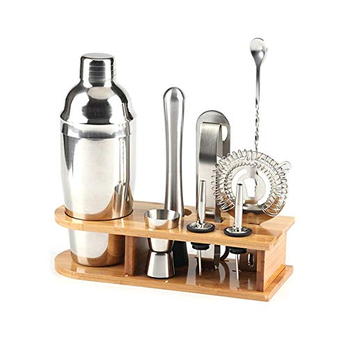 10pcs Stainless Steel Cocktail Shaker Mixer Wine Martini Shaker Set with Wooden Rack for Bartender Drink Party Bar Tools new,550ml