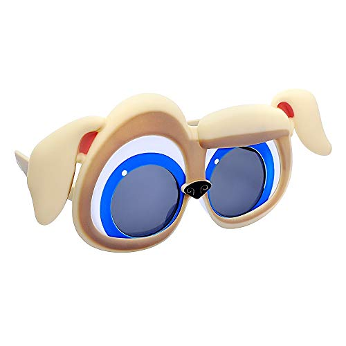 Sun-Staches Puppy Dog Pals Rolly Brown Pug Character Sunglasses, Instant Costume Party Favor Shades UV, One Size (SG3700)
