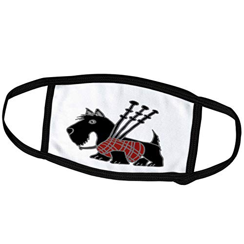 3dRose All Smiles Art Dogs - Funny Scottish Terrier Playing The Bagpipes - Face Masks (fm_218740_1)