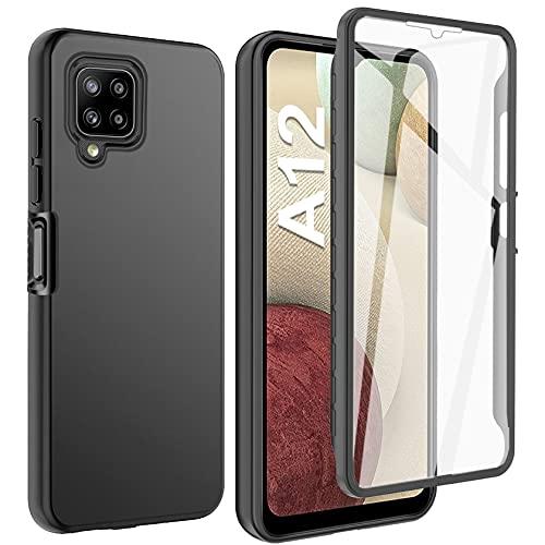 ivencase Hülle Kompatibel mit Samsung Galaxy A12 / Samsung Galaxy M12, 360° Schutzhülle TPU Robust Bumper Cover mit Integriertem Bildschirmschutz - Schwarz