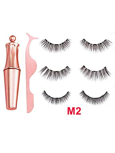 3 paires d'eye-liner liquide magnétique ensemble faux cils maquillage 3D cils artificiels longs et épais cils doux extension réutilisables Wispy Faux Cils longue durée imperméable à l'eau léger