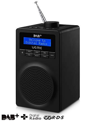 UEME Tragbares Digitalradio DAB+ DAB FM, mit Hellen LCD-Bildschirm, Drehknopf und Weichen Touch (Schwarz)