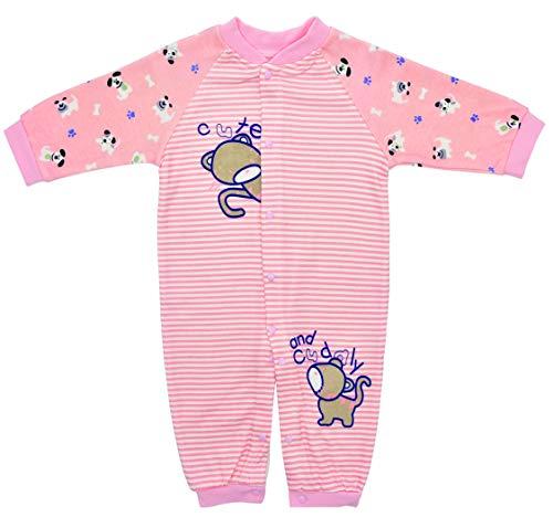 Pelele Recien Nacido Pijama Bebé Niñas Rosa Enteros Mameluco Algodón Rayas Cremallera Caricatura Sleepsuit Trajes Primavera Verano Otoño Ropa de Una Pieza Monos Outfits Unisexo 0-3 Meses
