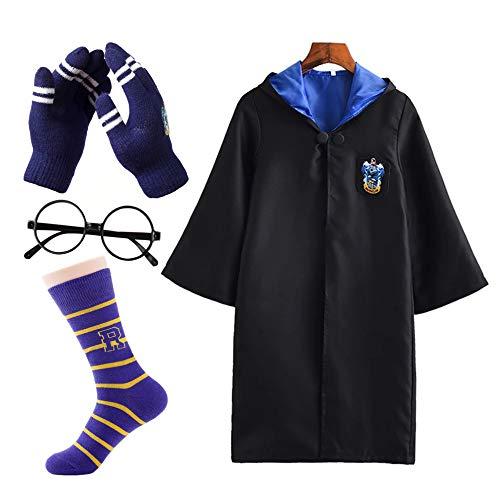 FStory&Winyee Harry Potter Kostüm Kinder Erwachsene Fasching Outfit Set Gryffindor Hufflepuff Ravenclaw Slytherin Fanartikel Unisex Umhang,Brille,Socke,Handschuhe
