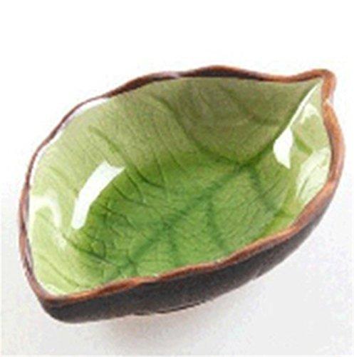 WeiMay Multiuso Plato de platos de salsa de aderezo para vinagre/ensalada/salsa de soja/Wasabi/aceite de chile (hojas de formas 11 * 7 * 2.5 cm)