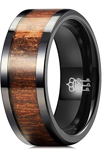 THREE KEYS JEWELRY 8mm Black Ceramic Wedding Ring with Real Koa Wood Inlay Flat Top Wedding Band Engagement Ring Comfort Fit Size 9.5