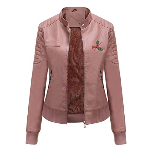 TEFIIR Damen Lederjacke Kurze Reißverschlussjacke Mode Übergangsjacke Seitlicher Reißverschluss Tops Langarm Einfarbige Jacke mit Gürtel Langarm Revers Mantel