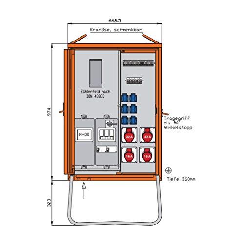 Walther Werke Anschlussverteilerschrank WAV0135R1 44kVA m.Zählerplatz Baustromverteiler 4015609067909